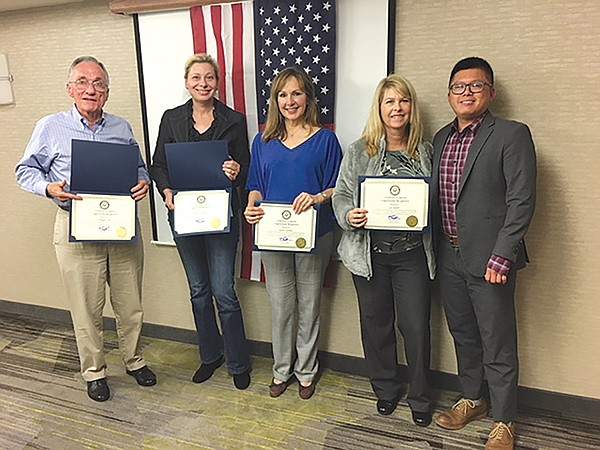 Congressman Scott Peters' representative, Anthony Nguyen,  presented the Sorrento Valley Town Council with a Proclamation  on the success of the Sorrento Valley Beer Festival. In the picture  are SVTC Board Members Wayne Cox, Julia Schriber (VP),  Susan Carolin (President), Lil Nover, and Anthony Nguyen.