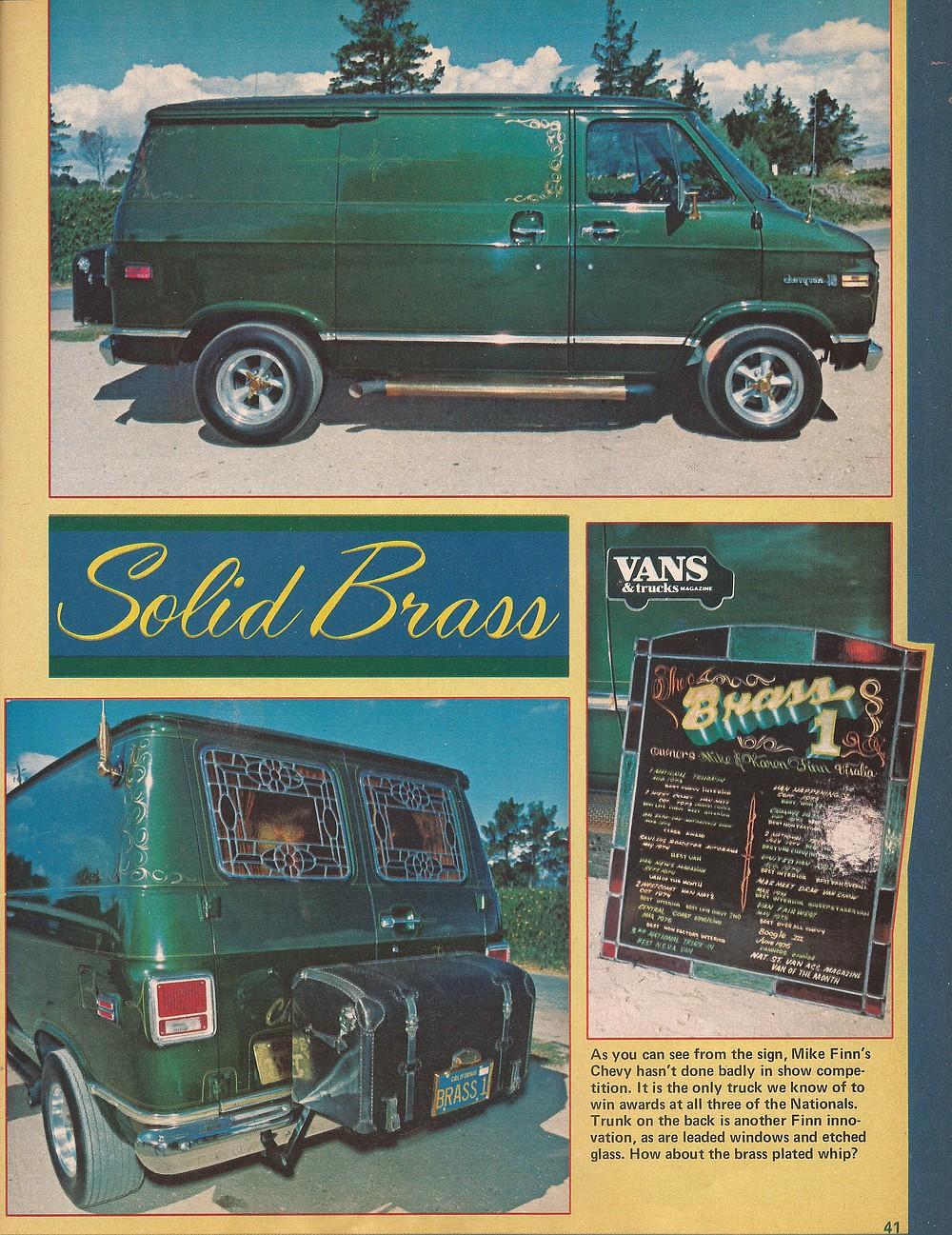 Stevens' van when it was featured in Vans & Truck Magazine in 1976.