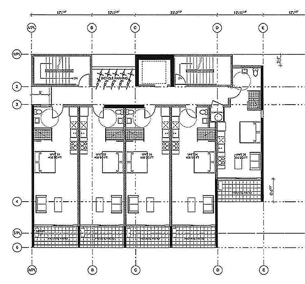 Layout of tiny apartments on the eighth floor. Note the tiny size — just over 400 square feet — and bicycle parking.