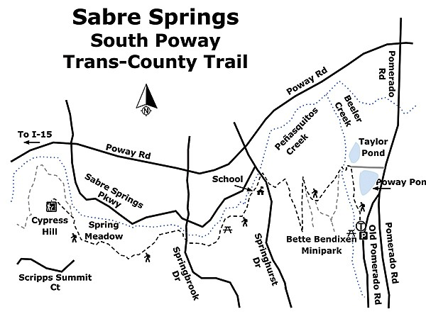 Sabre Springs South Poway Trans-County Trail map