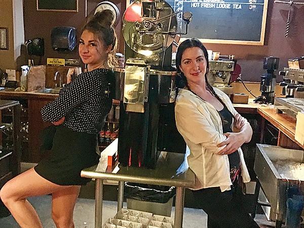 In charge: Yana, Jewel, ancient coffee machine