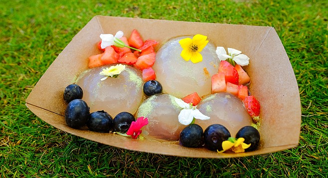 A New York trend in 2016, so-called raindrop cakes now turn up at San Diego food markets.