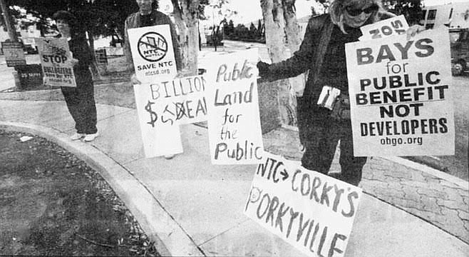 Protests against McMillin takeover of Liberty Station in 1999