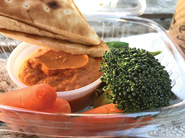 Second course: red pepper hummus, carrots, peas, broccoli, pita bread