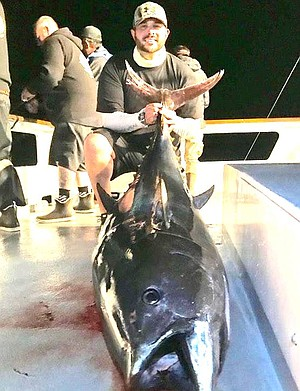 110-pound bluefin caught aboard the Aztec just before the storm