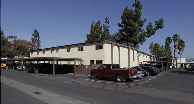 Parking lot of the Pamilla Villas Apartments on Mission Avenue.