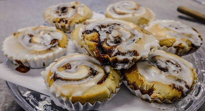 A stack of gluten-, egg-, nut-, and dairy-free cinnamon rolls