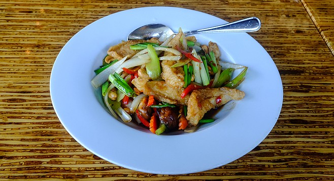 Batter fried sole makes this cashew stir fry a winner