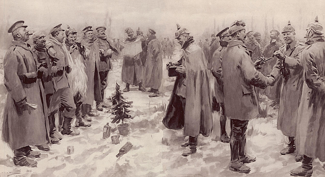 Artist's rendition of the truce from the Illustrated London News, January 9, 1915.