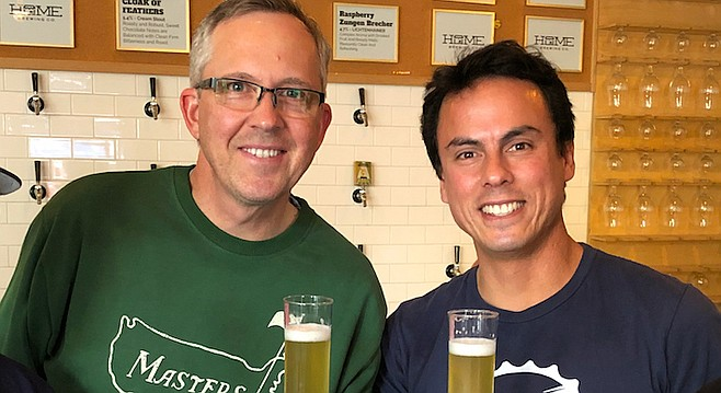 Homebrewer Scott Rauvola (left) and at Home Brewing Co. head brewer Jacob Bauch.