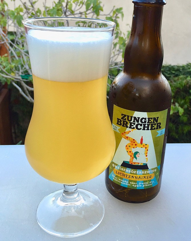 This award-winning homebrewed lichtenhainer pours with a frothy head.