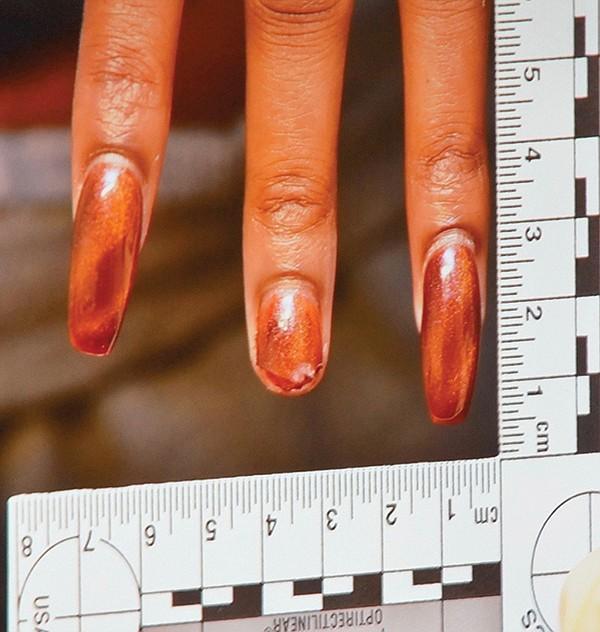 Sheffah's hand when arrested