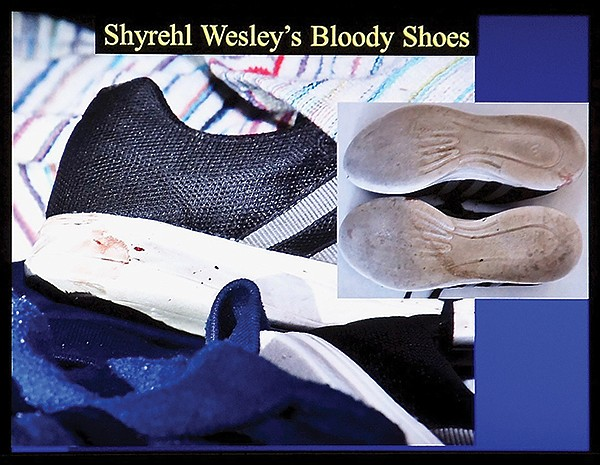 Wesley left the bloody shoes with Sheffah.