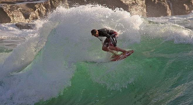 """Wipeout Beach has a great sider that pushes in the winter."" (Photo provided by Skim San Diego)"