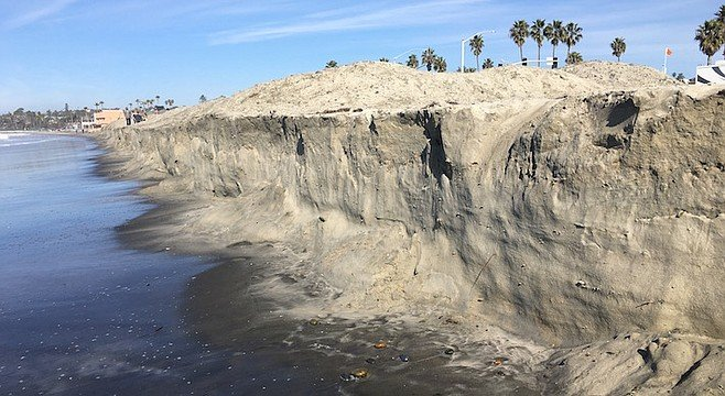 Five to eight feet of sand lost