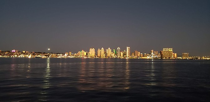 San Diego skyline during a boat cruise