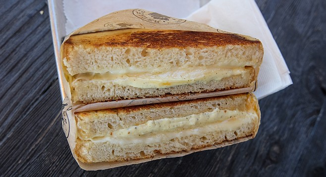 A basic five-cheese grilled cheese with pale ale chipotle aoili