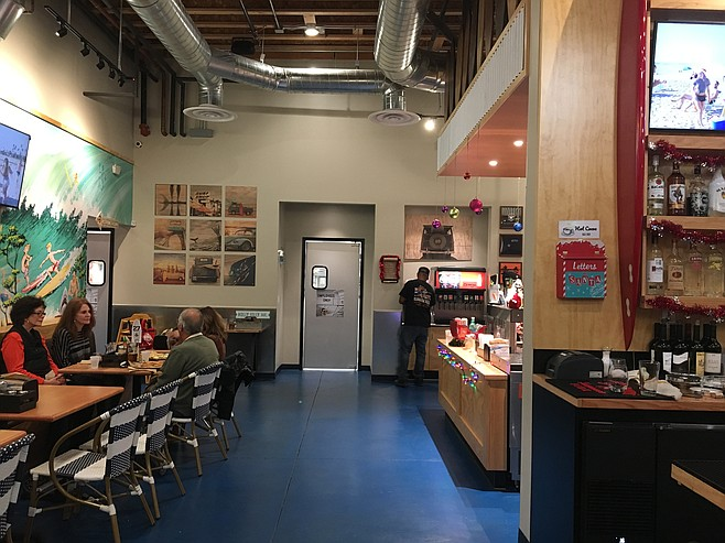 The interior of the Surf Rider Pizza in La Mesa.