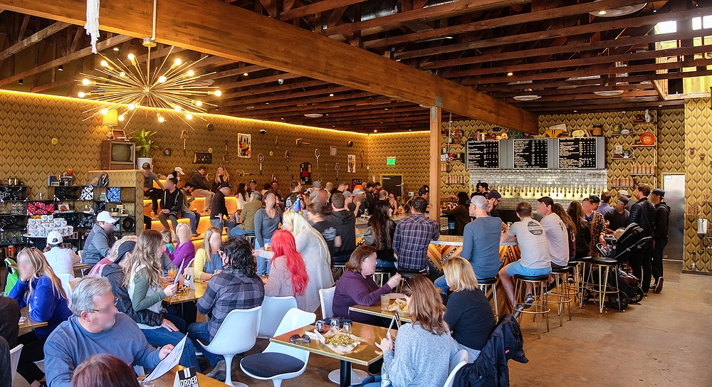 A full house drinking Modern Times in Encinitas