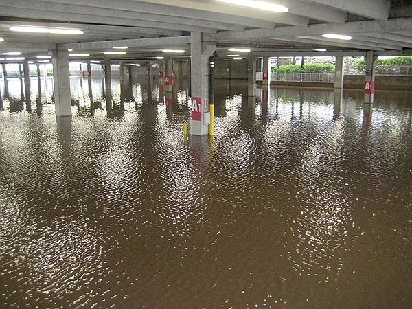 This is what happens when you build a mall too close to a river. Fashion Valley parking structure 2010.