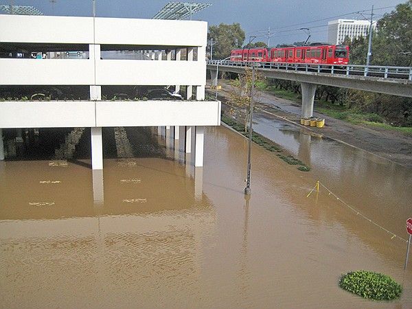 Fashion Valley, winter 2010, after the San Diego River overflowed its banks.