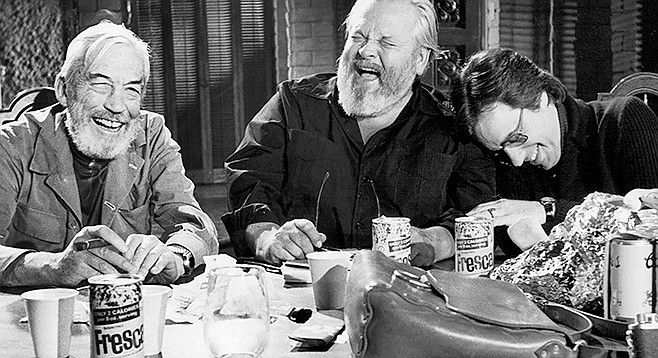 The Other Side of the Wind: John Huston, Orson Welles, and Peter Bogdanovich share a hearty laugh at the thought of their film someday playing on a computer screen.