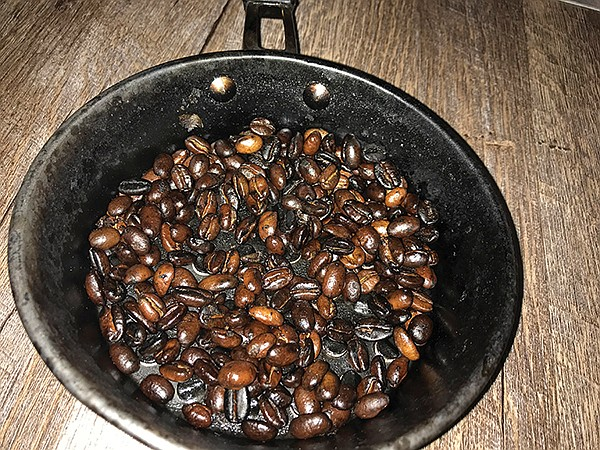 Fresh-roasted Ethiopian coffee beans, ready for grinding