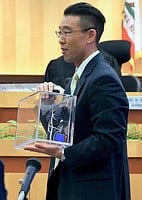 Prosecutor Watanabe worked for justice.  Seen here w the murder weapon.