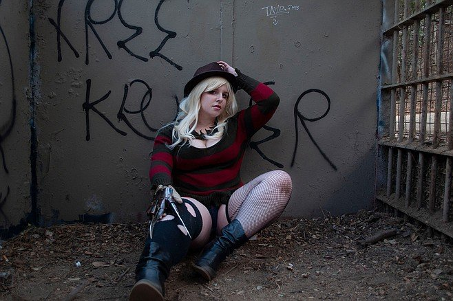 Nikki cosplays as a sexy version of Freddy Krueger