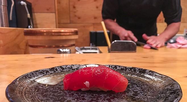A bright red piece of big eye tuna