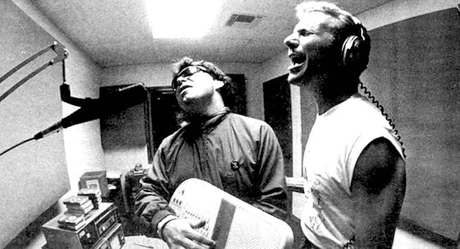 Pat Gorse and Russ T. Nailz in 91X studio - Image by Jim Coit