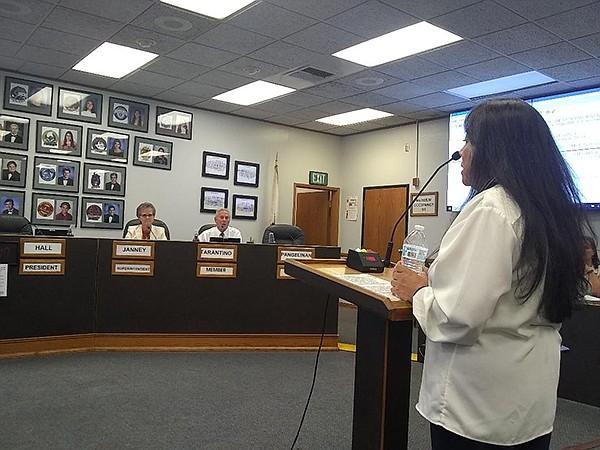 Miranda Escoto speaks to the Sweetwater school board