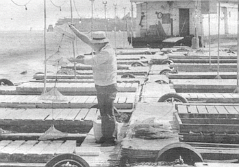 Tanaka's friend Roy Everingham gives him a lift in a boat to Everingham's bait barge.