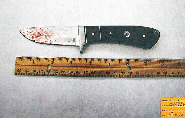 Evidence photo of bloody knife recovered