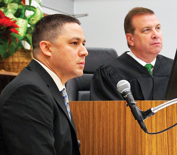 Sheriff's detective, Michael Duong, and Judge Blaine Bowman.