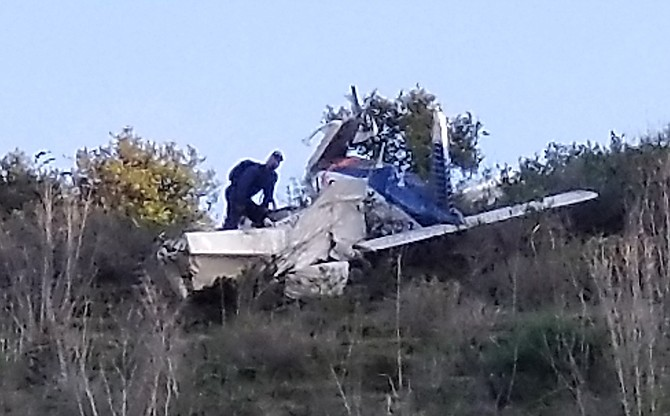 The single engine plane crashed into a ridge about 125 feet above Highway 76.