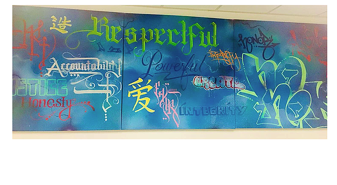 """DA office mural. """"I created this painting to represent the visual transformation."""""""