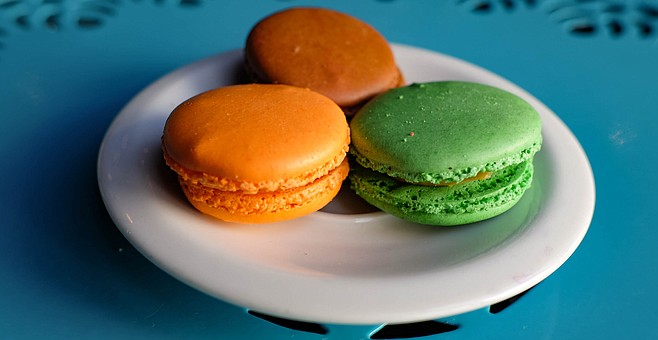 Macarons (left to right): chocolate peanut butter, caramel and butter cream, pistachio
