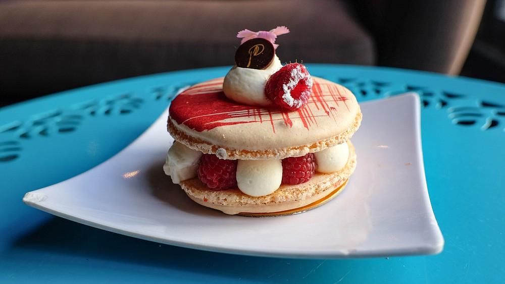 Ludi's macaron, with raspberries, and rose-lychee cream