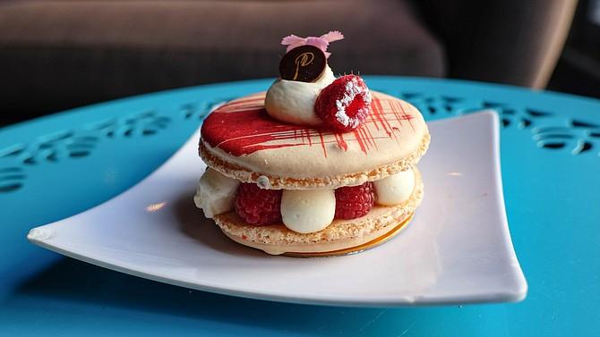 Ludi's macaron, with raspberries, and rose-lychee cream
