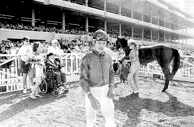 Winners Circle, August, 1994. When you're talking to Bill Shoemaker, you can't ignore the fact that he's immobilized.