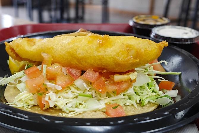 Batter-fried rockfish taco