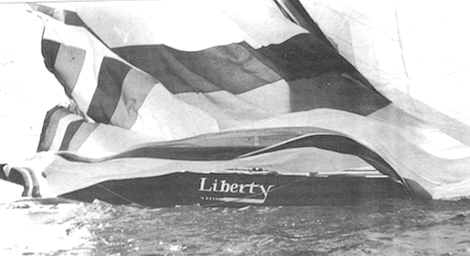 The newest of Conner's three, Liberty, is now back in a San Diego boat yard. - Image by Rocky Thies