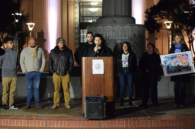 Ali Torabi speaks at the San Diego Border Dreamers Response to the State of the Union.  Photo by Mario A Cortez.