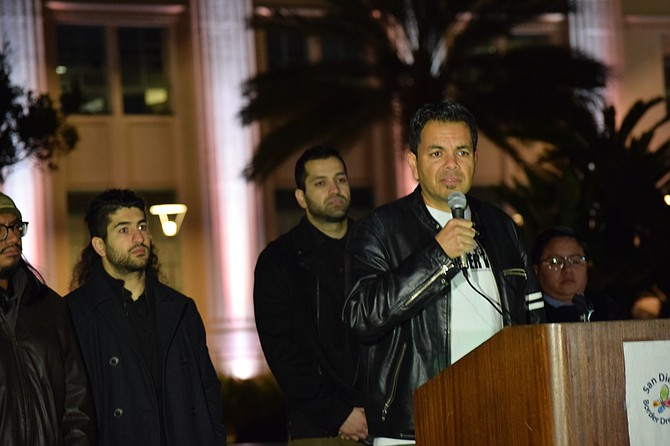 Pedro Rios speaks at the San Diego Border Dreamers Response to the State of the Union photo by Mario A Cortez.