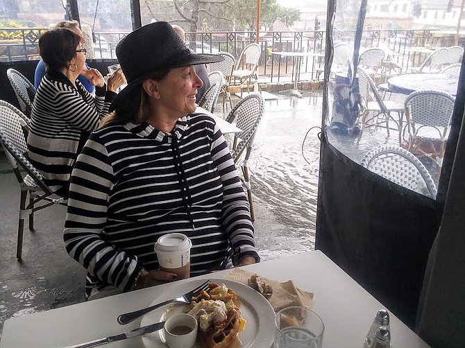 Breakfast continues- even in the rain at this cafe in Del Mar.