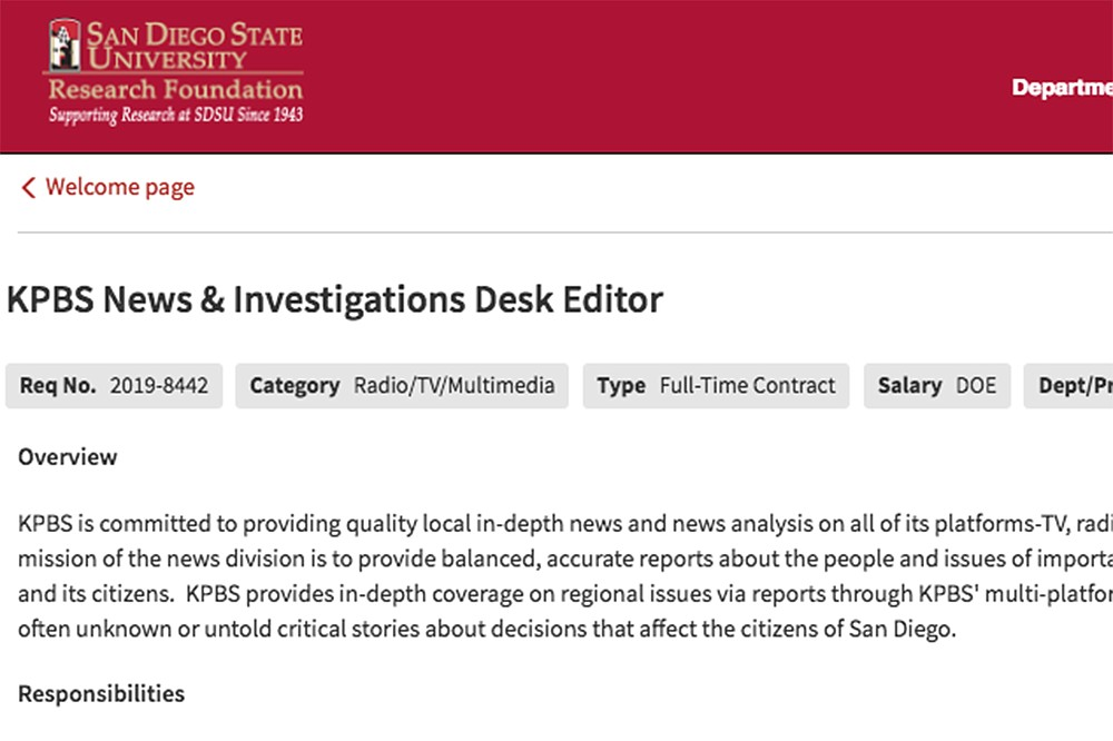 KPBS is currently advertising for a News and Investigation Desk editor