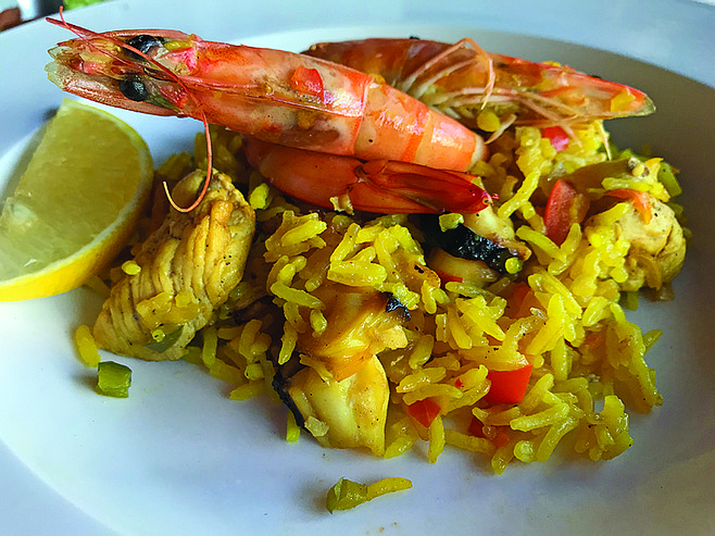 My serving of paella. Not cheap, but totally delish and filling.