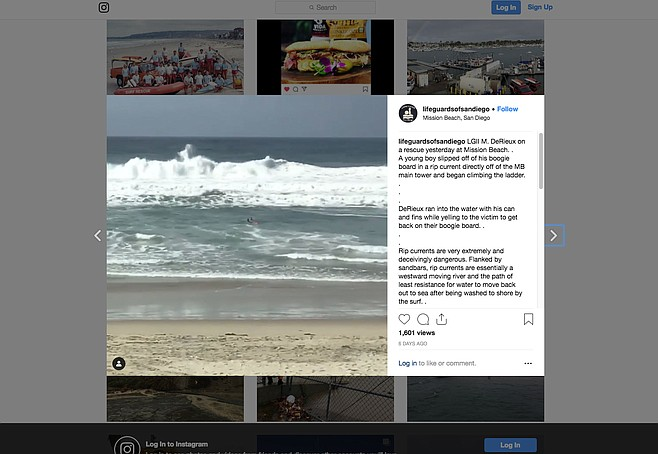 Mission Beach rescue reported from the Lifeguards of San Diego Instagram page.