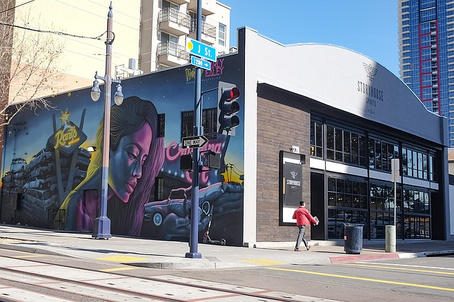 """Storyhouse Spirits, site of the Cohort Collective's """"Crushing It"""" mural."""